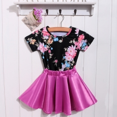 Jual New Kids G*rl S Vcmage Style Short Sleeve Floral Tops And Pleated Mini Skirt 2Pcs Casual Outfit Sets Intl