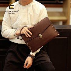 Diskon Baru Pria Korea Tas Keren With A Handbag Kopling Tangan Kurir Rivet Tas Tas Serbi Pergelangan Tangan Eropa Hitam Branded