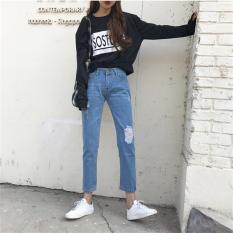 Baru Korea Musim Semi Terbaru Ladies Pinggang Tengah Longgar Gaya Pacar Jeans Di Vintage Cuci dengan Ripped Celana Perapi Wanita Real Foto-Intl