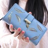 Review Tentang Wanita Korea Baru Lady Panjang Dompet Fashion Panjang Dompet Clutch Pemegang Kartu Koin Dompet Handbags Daun Bentuk Berongga Biru Intl