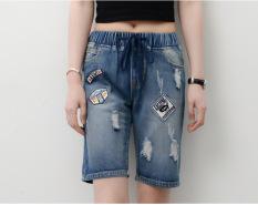 New Ladies Fashion Pinggang Elastis Perban Cropped Celana Jeans Denim-Intl