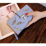 Baru Ladies Dompet Panjang Ayat Fashion Tangan Casing Hollow Daun Ritsleting Gesper Dompet Biru Tiongkok