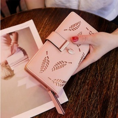 Baru Ladies Dompet Panjang Ayat Fashion Tangan Casing Hollow Daun Ritsleting Gesper Dompet Berwarna Merah Muda Internasional Original