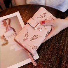 Ulasan Tentang Baru Ladies Dompet Panjang Ayat Fashion Tangan Casing Hollow Daun Ritsleting Gesper Dompet Berwarna Merah Muda Internasional