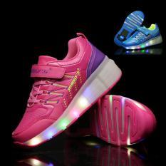 Baru Lampu LED Roda Tunggal Roller Skate Wheelys Sneakers Sepatu (Merah)-Intl