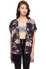 Harga New Look Floral Oriental Longline Fringed Kimono Biru Online Indonesia