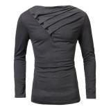Harga Baru Untuk Pria Kasual Fashion Kaos Lengan Panjang Tipis Atas Kancing Padat Dekorasi Baju Kaos Berleher Tinggi More Tahan Terhadap Dr T Shirt Abu Abu Gelap Internasional Oem Ori