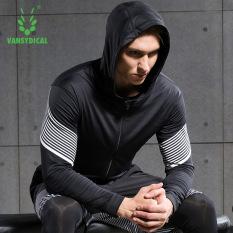 Spesifikasi Vansydical Pria Fashion Cepat Kering Mantel Olahraga Ringan Menjalankan Ritsleting Jaket Tipis Hitam Putih Yang Bagus Dan Murah