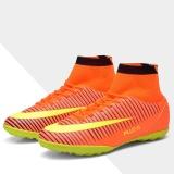 Beli Baru Pria Tinggi Ankle Sepatu Sepak Bola Original Soccer Sepatu Anak Turf Sock Cleat Pelatihan Nail Ukuran Besar Sneakers Orange Intl