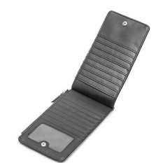 Baru Pria Kulit Dompet Panjang Menenun Zipper Dompet Bisnis Tas Telepon Tipis Dilipat Pengait Kartu Pemegang Tas Tangan (HITAM) -Intl