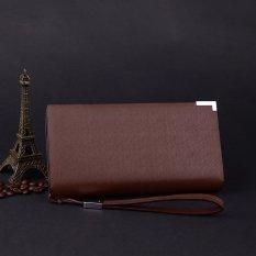 Perbandingan Harga Baru Pria Panjang Dompet Bisnis Pria Tas Multi Fungsi Zipper Pemegang Kartu Leather Purse Kopi Di Tiongkok