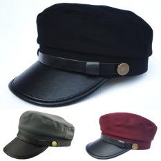 Baru Pria Wanita Topi Kulit Kadet Militer Tentara Angkatan Laut Pelaut Differences Bagian Tanaman Datar Topi Katun