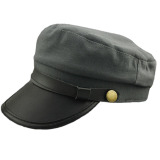 Beli Baru Pria Wanita Topi Kulit Kadet Militer Tentara Angkatan Laut Pelaut Bagian Atas Datar Topi Katun International Baru