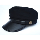 Toko New Men Women Army Leather Cap Cadet Military Navy Sailor Flat Top Cotton Hat Intl Unbranded
