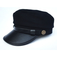 Harga New Men Women Army Leather Cap Cadet Military Navy Sailor Flat Top Cotton Hat Intl Termurah