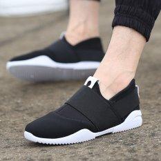 Pria Baru Eropa Dan Amerika Cotton Canvas Casual Sneakers Olahraga Sejuk Sepatu Lari Sepatu Pelatih Elastis Hitam O Diskon Tiongkok