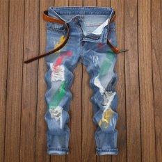 Baru Pria Kaki Celana Cat Sembilan Poin Jeans Men's Versi Korea Budidaya Diri Rusak Denim Pants- INTL