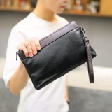Spesifikasi New Mens Leather Clutch Splicing Color Handbag Long Walletportable Phone Bag Leisure Wrist Bag Black Intl Oem