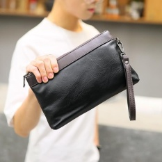 Jual New Mens Leather Clutch Splicing Color Handbag Long Walletportable Phone Bag Leisure Wrist Bag Black Intl Import