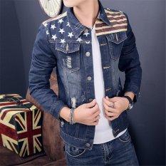 Baru Pria Slim Fit Klasik Retro Menebal Mantel Jean Denim Jaket Lapel Pakaian Luar Bendera Amerika Mencetak Melapisi-Intl