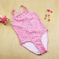 Model Baru Mandi Baby Girl Swimsuit One Piece Style Fit 2-11Y Warna Orange dengan Es Krim Pola Swimsuit Sw0667- INTL