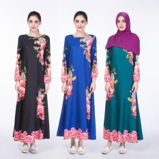 New Muslim national dress digital printing single-layer ophthalmological women's dress stock shelf - intl