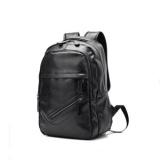 Harga Baru Baru Pu Leather Preppy Style Backpack Pria Modis Tas Perjalanan Miring Ritsleting Tas Hitam Intl Fullset Murah
