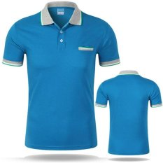 Baru Polo Shirt Pria Kasual Katun Lengan Pendek Kemeja Bernapas Mens Turn-down Collar Kaos Polos Homme Men Merek Pakaian (Danau Biru) -Intl