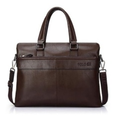 New Polo XH Pu Leather Briefcase Mens Briefcase Mens BusinessBags High Quality Mens Messenger Bag 14-inch (Brown) - intl