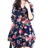 Harga Lima Bintang Store Baru Linen Lengan Baju Seksi Wanita Bunga Panjang V Leher Begitu Pesta Malam Gaun Mini Bang Bang Pendek Seperti Biru Tua Internasional Murah