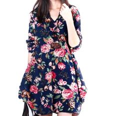 Jual Lima Bintang Store Baru Linen Lengan Baju Seksi Wanita Bunga Panjang V Leher Begitu Pesta Malam Gaun Mini Bang Bang Pendek Seperti Biru Tua Internasional Di Bawah Harga