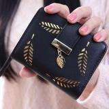 Baru Dompet Pendek Ladies Zipper Buckle Hollow Daun Kecil Dompet Wallet Peta Paket Hitam Diskon Tiongkok