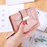 Promo Baru Dompet Pendek Ladies Zipper Buckle Hollow Daun Kecil Dompet Wallet Peta Paket Pink Oem