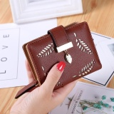 Harga Baru Dompet Pendek Ladies Zipper Buckle Hollow Daun Kecil Dompet Wallet Peta Paket Brown Baru