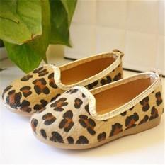 Sepatu Single Baru Korea Versi Inggris Leopard Sepatu Kopi Hitam-Internasional