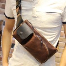 Beli New Single Pria Cenderung Bahu Bag Dada Bahu Bag Paket Tas Dompet Crossvody Gerakan Maupun Tas Pria Kopi Online Tiongkok