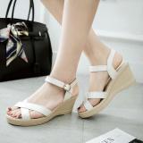 Jual Baru Ukuran 35 41 Panas Musim Wanita Klasik Sandal Wedge Heels Payet Korea Fashion Tebal Heels Nyaman Warna Putih Murah Di Tiongkok