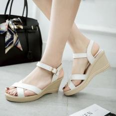 Harga Hemat Baru Ukuran 35 41 Panas Musim Wanita Klasik Sandal Wedge Heels Payet Korea Fashion Tebal Heels Nyaman Warna Putih