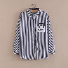 Baru Musim Semi Musim Gugur Wanita Casual Stripe Wanita Shirt Pasar Pencetakan Desain Busana Wanita Shirt Tops Tren Baru SHIRT -Intl