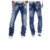 Spesifikasi Baru Spring Fashion Lubang Jeans Pria Panjang Celana Celana T Shirt Bermotif Kasual Longgar Tengah Lurus Pinggang Intl Oem