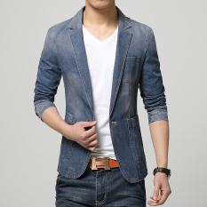 Penawaran Istimewa Musim Semi Fashion Pria Jas Setelan Kasual Jaket Tren Jeans Jaket Pria Langsing Cocok Denim Biru Tua Terbaru