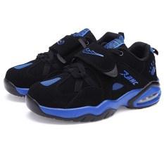 Gaya Baru Pria Breathable Sepatu Basket & Menjalankan Sepatu (Hitam & Biru)-Intl