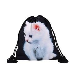Gaya Baru Daftar Tas Siswa Bag Shoulder Bag White Cat Printing Bag-Intl