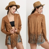 Jual Baru Stylish Ladies Wanita Lengan Panjang Fringe Jacket Brown Branded Original