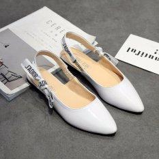 Jual Beli Baru Musim Panas Fashion Butterfly Simpul Wanita Menunjuk Datar Sepatu Putih Di Tiongkok