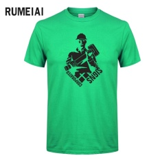 Baru Musim Panas Palu Pemuda Lucu T-shirt Men Printed T-shirt Lengan Pendek 100% Cotton Casual Pakaian Baju Atasan Sejuk Tee (hijau) -Intl