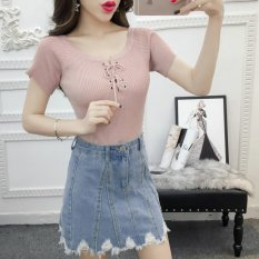 Beli Baru Musim Panas Wanita Rajutan Solid Crop Top Fashion Renda Up Cross Wanita T Shirt Lengan Pendek Kasual Lady Top Comfy Femme Blusa Intl Oem Online