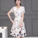 Promo Baru Musim Panas Wanita Gaya Korea Floral Dress Lengan Pendek Rok A Line Slim O Leher Polyester Dress Intl