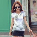 Obral Baru Musim Panas Wanita Slim V Neck Stripes Lengan Pendek T Shirt Putih Intl Murah