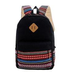Baru Unisex Kanvas Patchwork Backpack Gaya Nasional Soft Kasual Outdoor Tas Sekolah Ruckrack-Intl
